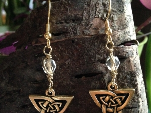 Gold Celtic Trickle with Vintage Czech Glass Earrings